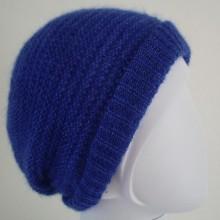 Bonnet mohair de chevreau et soie bleu électrique